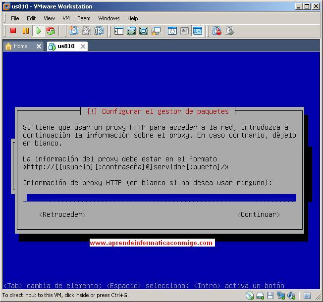 Configurar proxy para el gestor de paquetes.