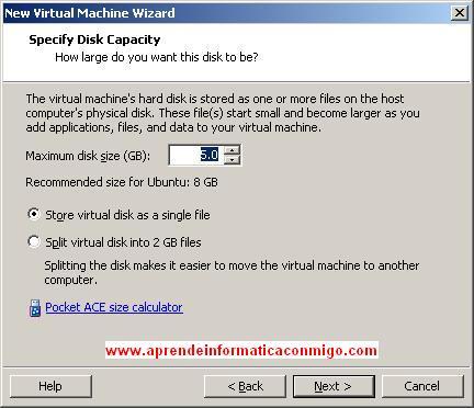 Determinar el tamaño de la máquina virtual.