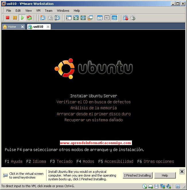 "Seleccion de ""Instalar Ubuntu Server""."