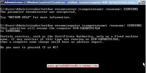 Windows Server 2008 Core – Cambiar el nombre del servidor