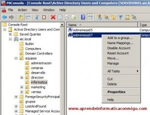 Windows Server 2008 – Deshabilitar y habilitar cuentas de equipo