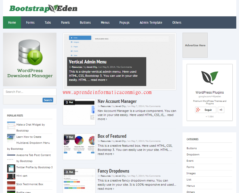 BootstrapEden - recursos y plantillas para bootstrap