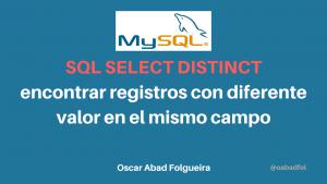 MySQL SELECT DISTINCT para encontrar registros con diferente valor en el mismo campo