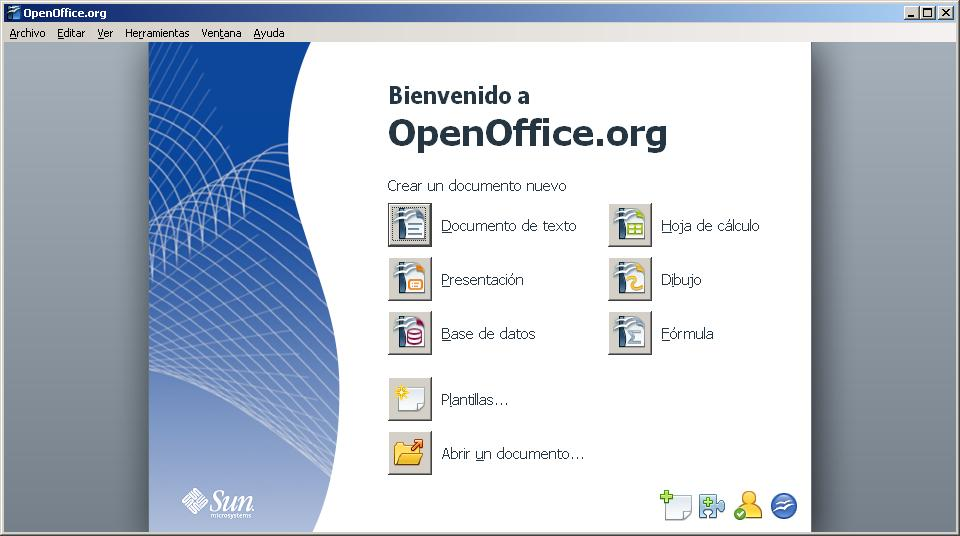 Pantalla de inicio de Openoffice 3