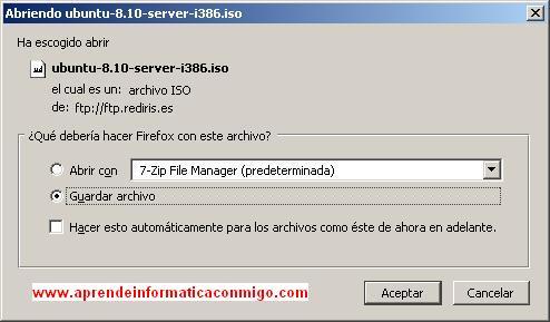 Ventana de descarga de ficheros.